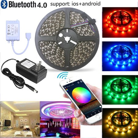 Visdoll bluetooth led strip lights kit smartphone controlled 5050 visdoll bluetooth led strip lights kit smartphone controlled 5050 rgb strip light 164ft 150 aloadofball Choice Image