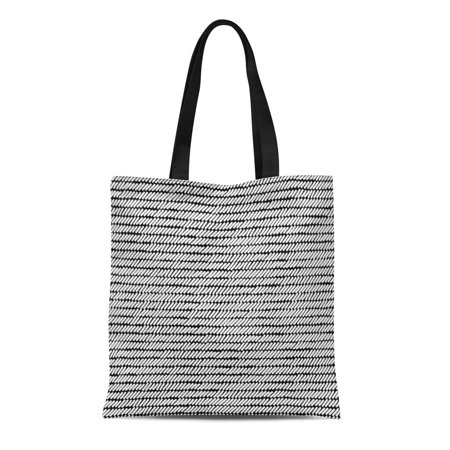 ASHLEIGH Canvas Tote Bag Graphic Black and White Woven Striped Abstract Brush Contrast Durable Reusable Shopping Shoulder Grocery Bag - Black And White Striped Bag