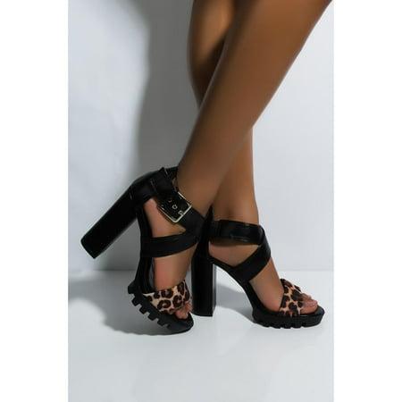 Cape Robbin Monstrous Black Leopard Ankle Strap Lug Sole Open Toe Platform Pumps Black Open Toe Ankle Strap