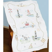 "Stamped White Lap Quilt Top, 40"" x 60"", Lighthouses"