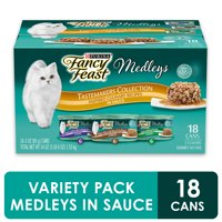 (18 Pack) Fancy Feast Wet Cat Food Variety Pack Medleys Tastemakers Collection in Sauce 3 Oz. Cans