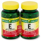 Spring Valley Vitamin E Dietary Supplement Twin Pack, 180 mg, 200 count