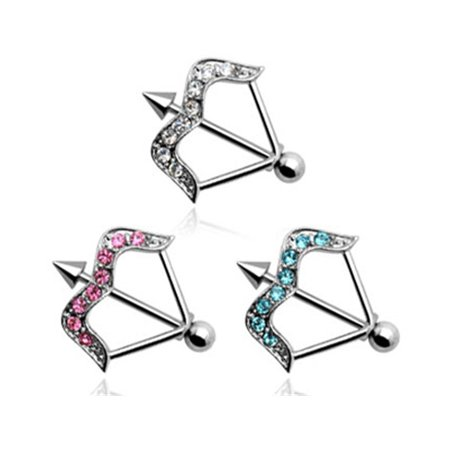 Jeweled Bow And Arrow Nipple Ring, 14 Ga,Clear