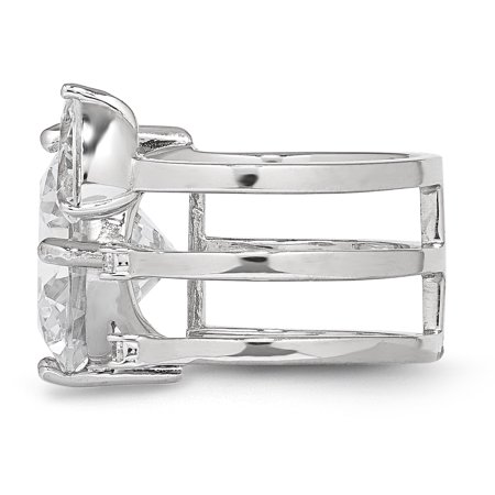 925 Sterling Silver Rhodium-plated Cubic Zirconia Adjustable Ring - image 1 of 5