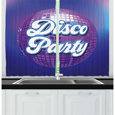 70s Party Curtains 2 Panels Set, Retro Lettering on Disco Ball Night Club Theme Dance and Music Art Print, Window Drapes for Living Room Bedroom, 55W X 39L Inches, Purple Blue White, by Ambesonne - Disco Dances Of The 70s