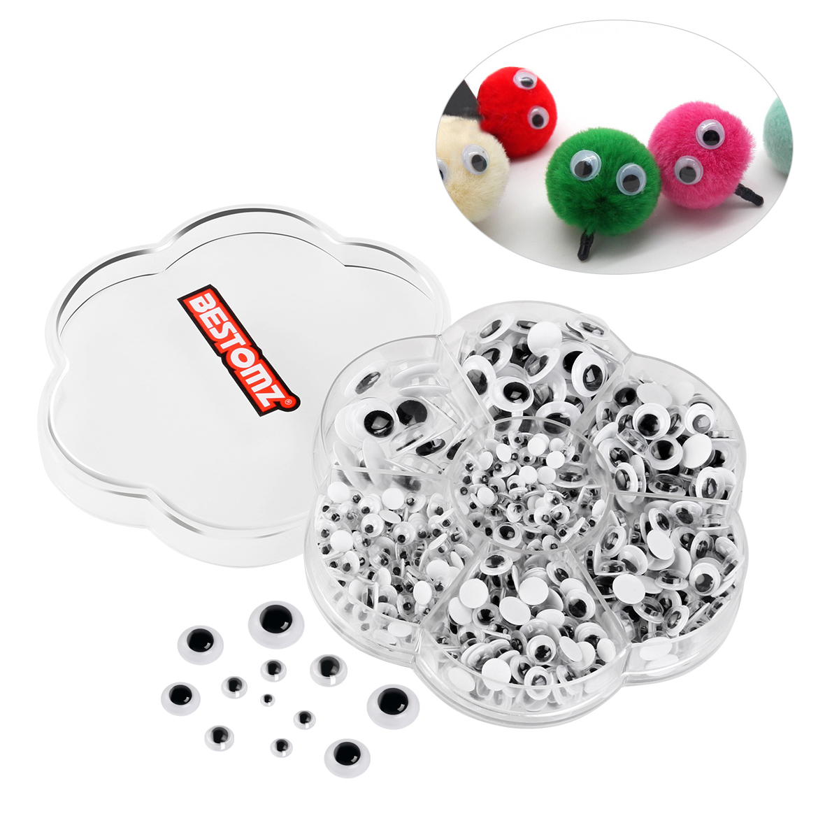 BESTOMZ Wiggle Googly Eyes Self-adhesive DIY Scrapbooking Crafts Toy Accessories with Assorted Size (Black & White), 700 Pieces Pack