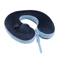 Soft Travel Pillow for Cervical Spine Neck Protection U-shaped Air Blowing Airplane Pillows Blue