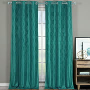 Pair Voyage Jacquard Thermal Blackout Curtain Panels With Grommets (Set Of 2)&Nbsp;76X84 - Teal