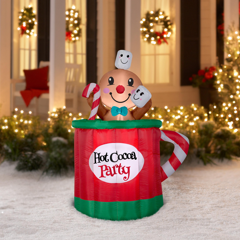 holiday time 5ft animated mug inflatable walmartcom - Inflatable Gingerbread Man Christmas Decor