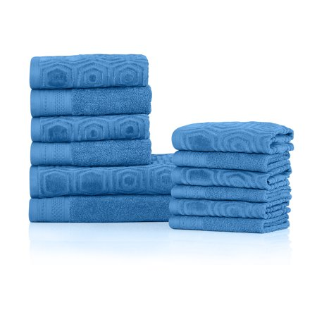 100% Combed Cotton Honeycomb 12 PC Jacquard And Solid Towel Set