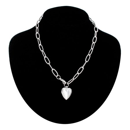 Silver Tone Locket Cable Chain Link Embossed Heart Pendant Necklace 16