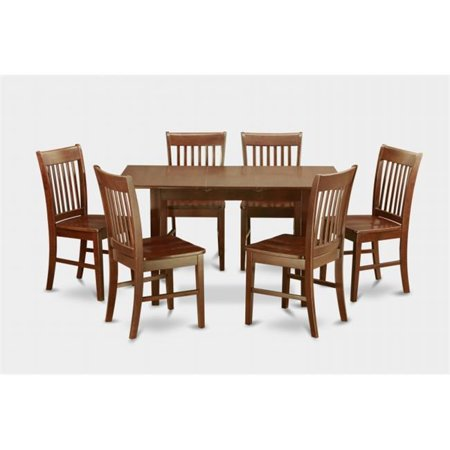 7 Piece Small Kitchen Table Set With Leaf And 6 Dining Room Chairs
