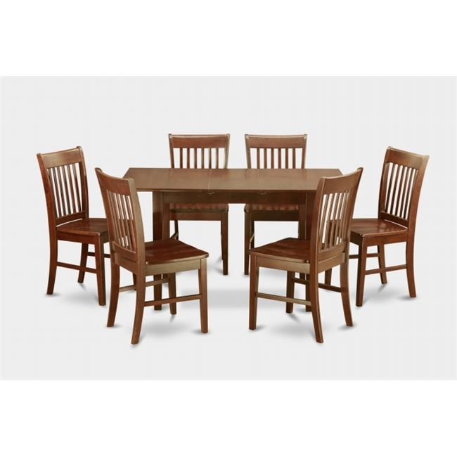 7 Piece Small Kitchen Table Set- Table With Leaf and 6 Dining Room Chairs