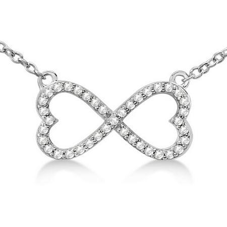 Pave Infinity Heart Diamond Pendant Necklace 14k White Gold (0.39ct) 14k Pave Diamond Heart Pendant