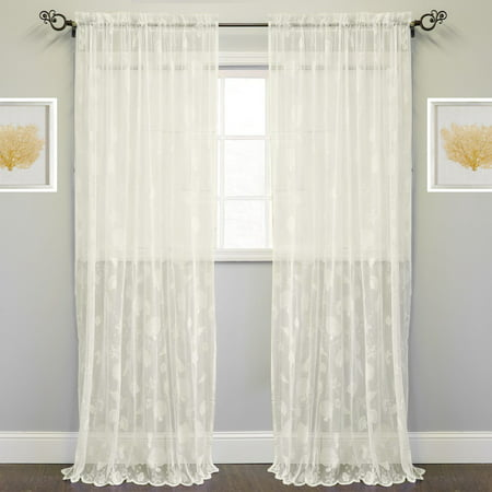 - Knitted Lace Window Curtain Single Panel Marine Life Motif 56