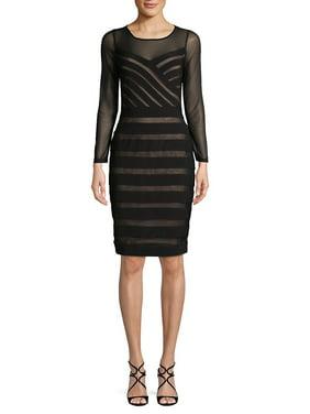 Mesh Illusion Matte Jersey Dress