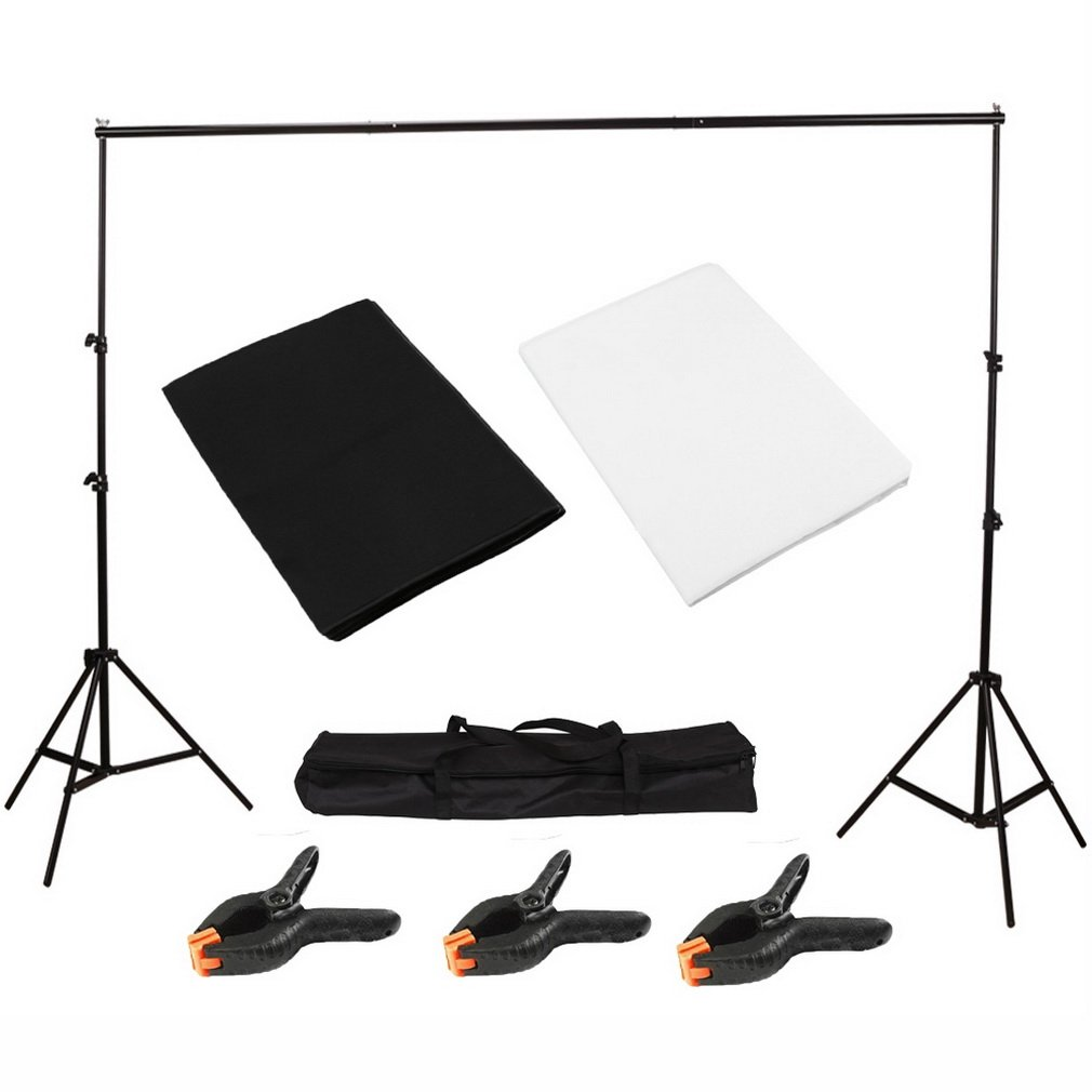Photography Backdrops Light Studio Photo Studio with Black and White Background Backdrop Screen Stand Kit