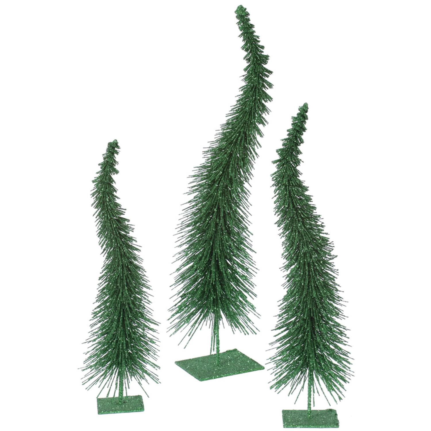 Set of 3 Emerald Green Glitter Curved Artificial Table Top Christmas Trees - Unlit
