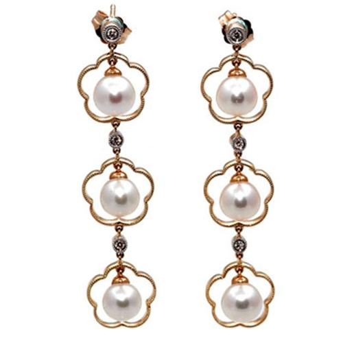 14K Gold Diamond Dangle Earrings With White Cultured Pearls