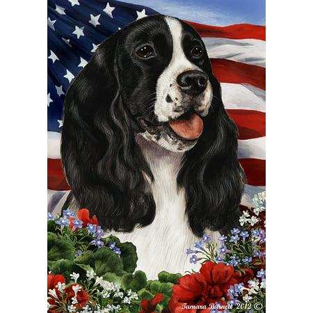 Springer Spaniel Black and White - Best of Breed  Patriotic I Garden Flags - Black And White Flag