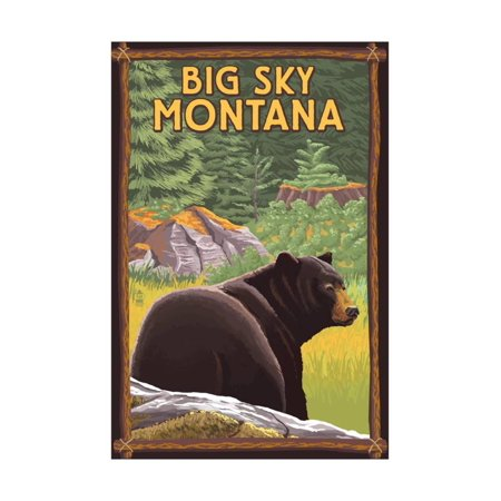 Big Sky, Montana - Bear in Forest Print Wall Art By Lantern - Sky Lanterns In Store