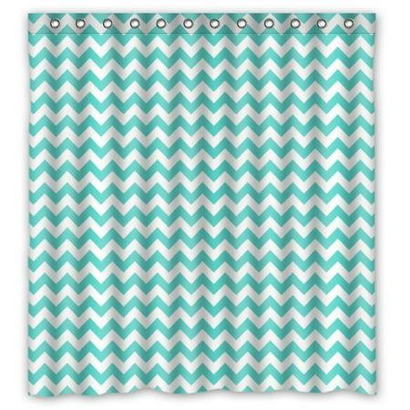 EREHome Blue Chevron Zig Zag Shower Curtain Polyester Fabric Bathroom Decorative Curtain Size 66x72 Inches - image 1 de 1