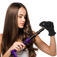 Ovonni Ionic Curling Wand, 19-25mm Dual Voltage Ceramic Tourmaline Curling Iron Wand, Professional Instant Heat Up Hair Wand for Loose Curls and Waves with Heat Protective Glove (Purple)
