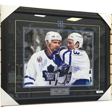 AJ Sports World GILD10453A 25 x 31 in. Doug Gilmour & Wendel Clark Toronto Maple Leaf Dual Signed Spotlight Frame