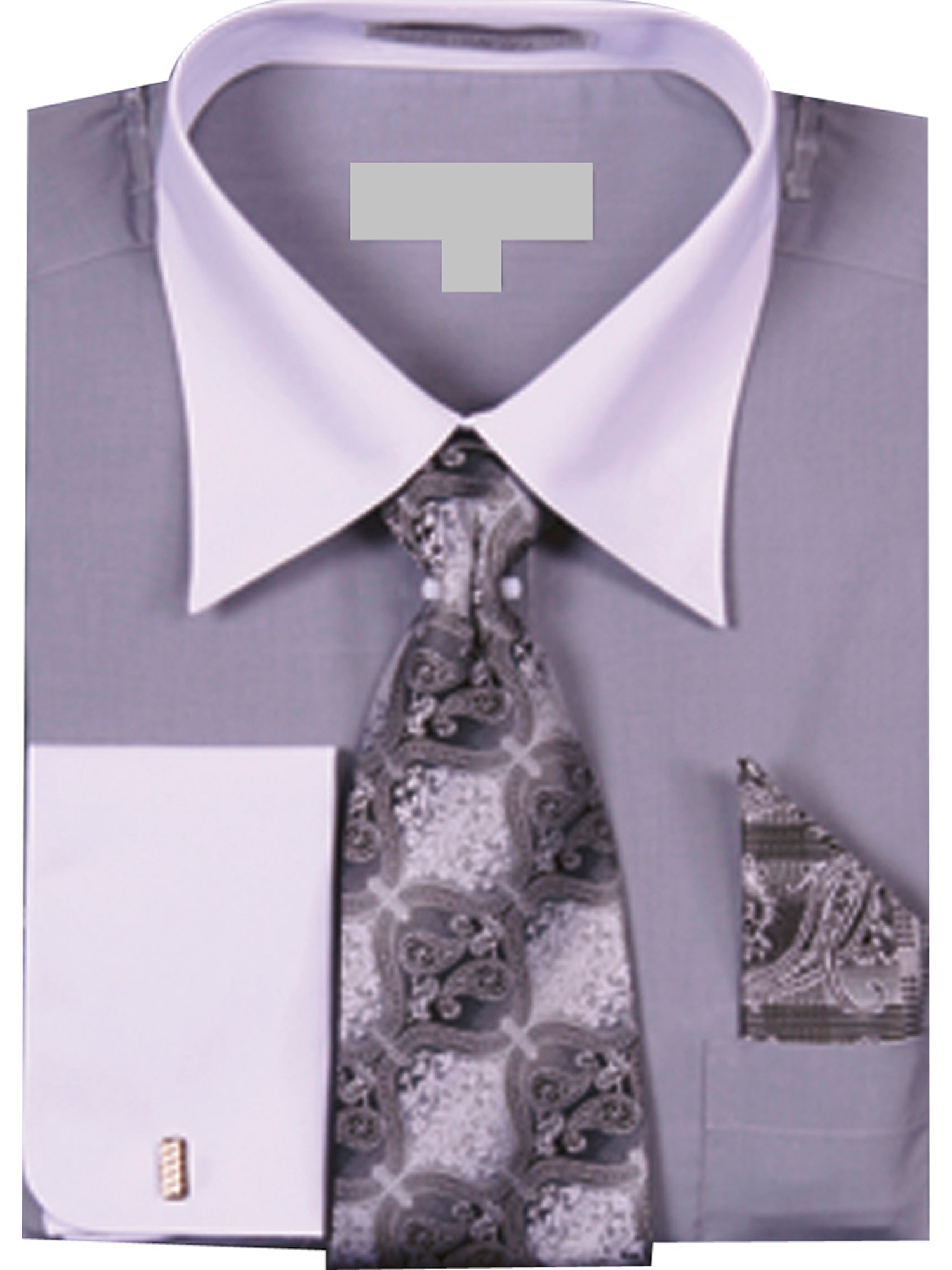 Men's Solid Dress Shirt with a VARYING Tie and Hanky Set with White Collar and French Cuffs