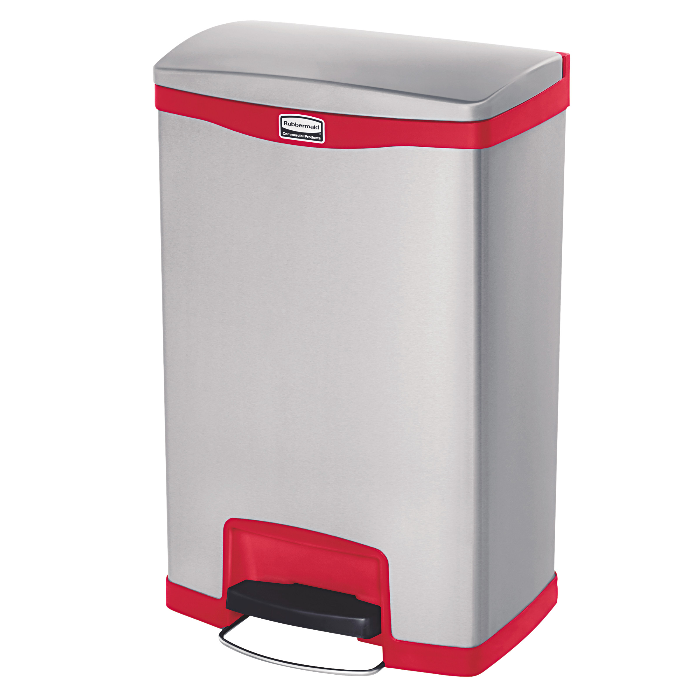 Rubbermaid Commercial Slim Jim Stainless Steel Step-On Container, Front Step Style, 13 gal, Red