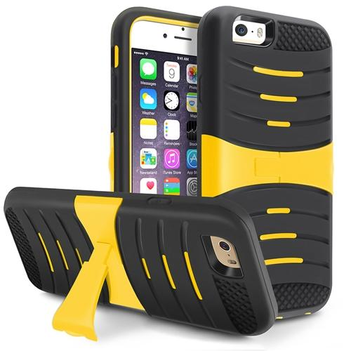 "Insten Black Rubber SKin/Yellow Hard Armor Shockproof Case with Stand For iPhone 6 6S 4.7"" Inches"