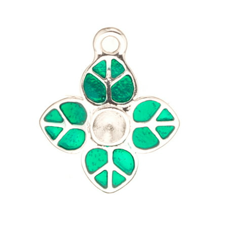 Enamel Drop, Green Peace Heart Leaf ss22 Rhinestone Setting Silver Plated (Silver Plated Lead)