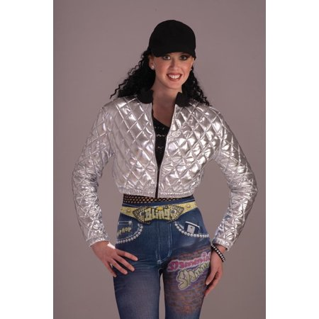 Hip Hop 70's 80's Quilted Silver Jacket Costume Adult (70's And 80's Party Costumes)