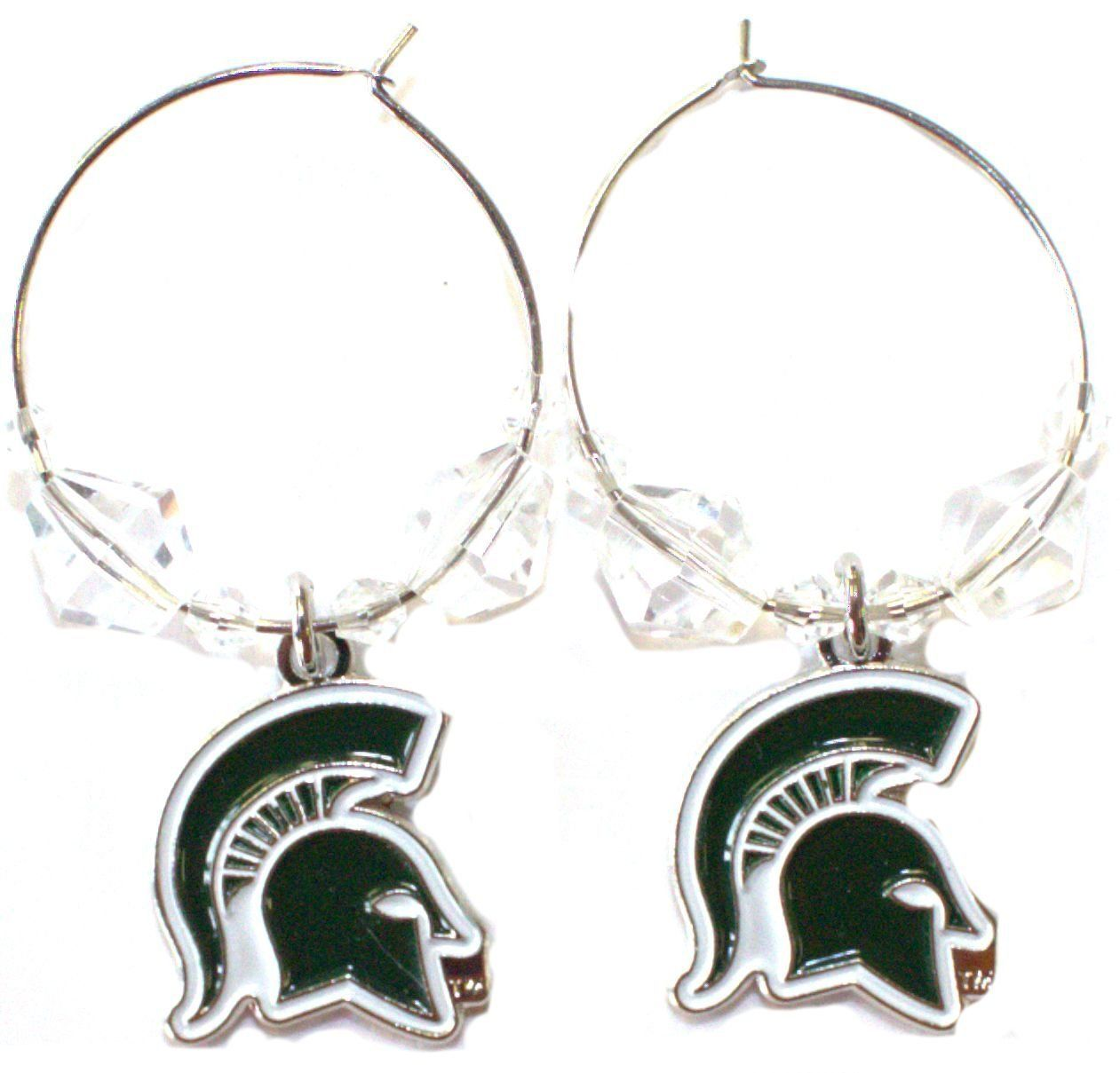 NCAA Officially Licensed Michigan State Spartans Beaded Hoop Earrings