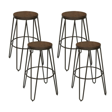Excellent Kate And Laurel Tully Backless Modern Wood And Metal 30 Bar Stools Set Of 4 Industrial Bronze Metal Legs With Wooden Seat Gmtry Best Dining Table And Chair Ideas Images Gmtryco