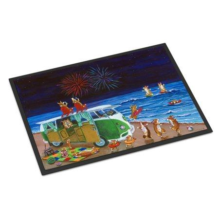 Corgi Beach Party Volkswagon Bus Fireworks Door Mat