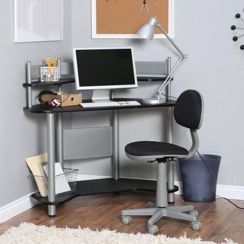 Study Corner Desk In Silver And Black Walmart Com