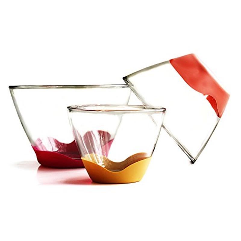 Anchor Hocking 3 Piece Splashproof Mixing Bowl with Multi-Colored No-Slip Base Set