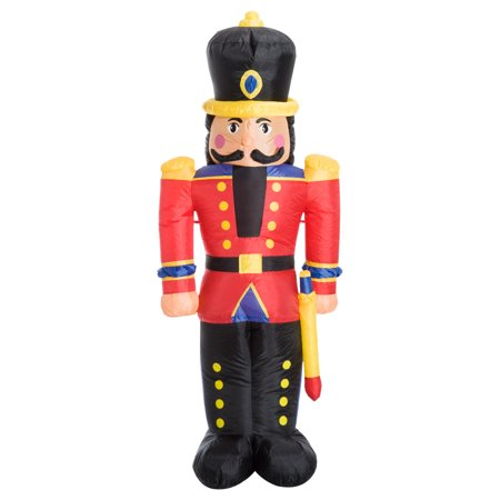 homcom 6 ft tall outdoor lighted airblown inflatable christmas lawn decoration nutcracker toy soldier