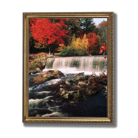Waterfall Fall Trees Nature Outdoor Home Decor Wall Picture Gold ...