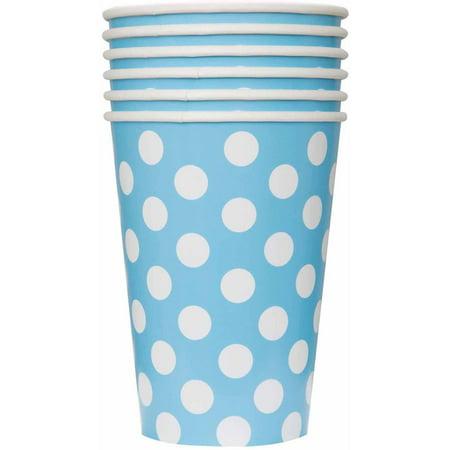 12oz Polka Dot Paper Cups, Light Blue,