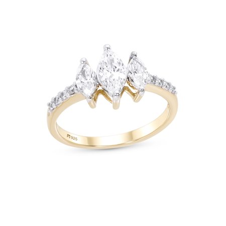 Sterling Silver 14K Gold Plated 3 Stone Marquise Cut Cubic Zirconia Engagement Ring