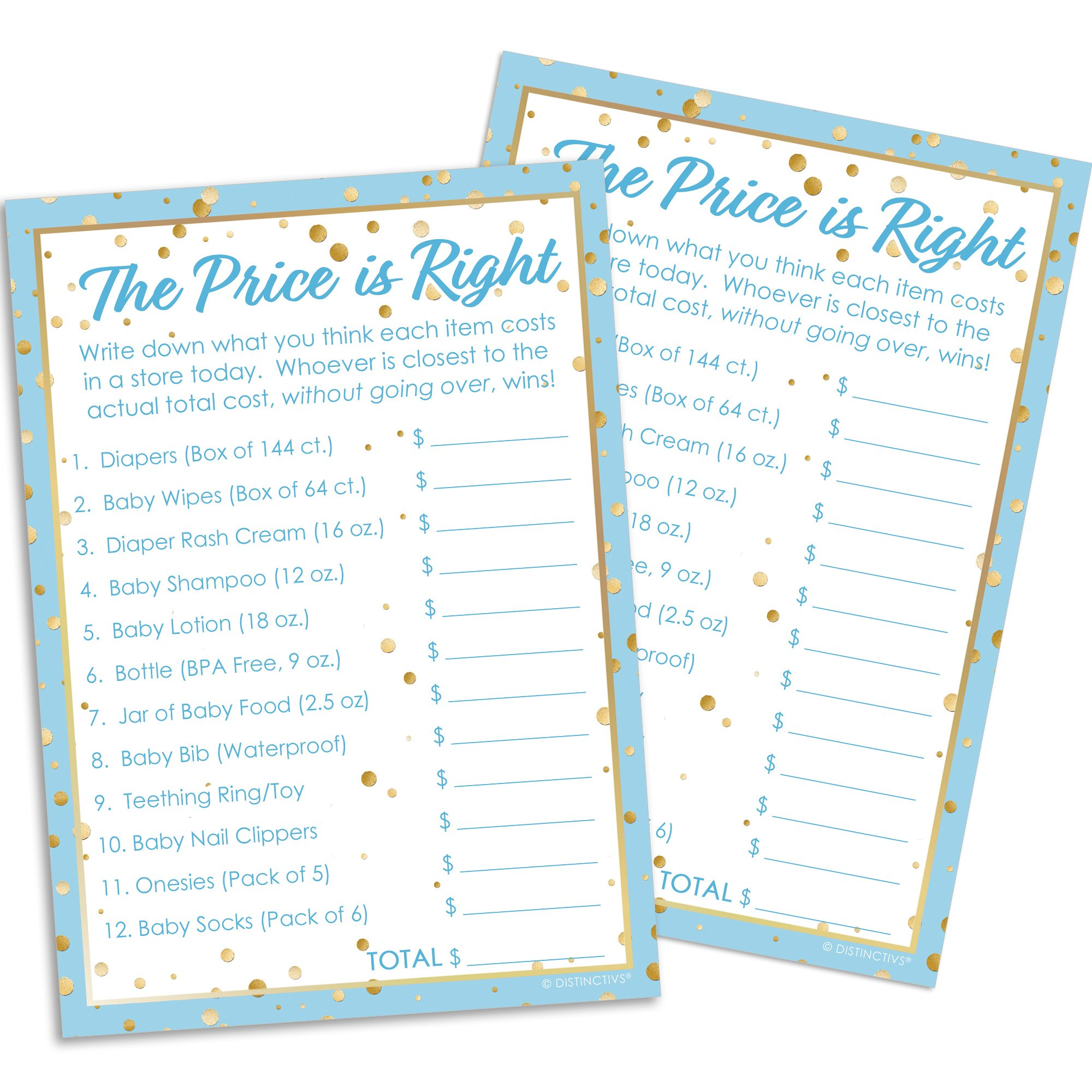 Blue and Gold Boy Baby Shower Price is Right Game Cards, 20 Guests