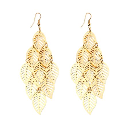 Real Gold Leaf - Antique Gold Autumn Leaves tree leaf Feather Drop Earring