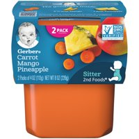 (Pack of 8) Gerber 2nd Foods Baby Food, Carrot Mango Pineapple, 2-4 oz Tubs