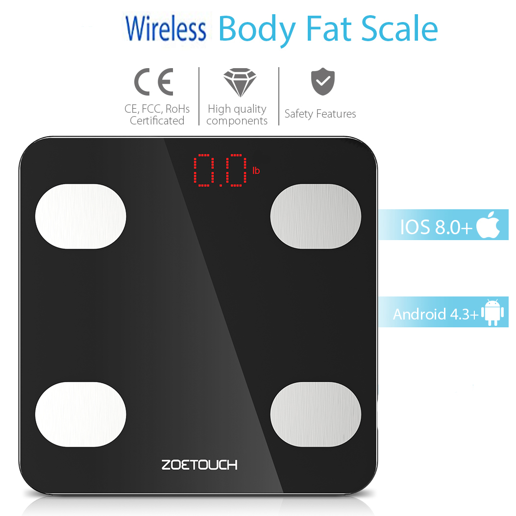 Zoetouch Weight Scale Wireless Body Fat Digital Smart Bathroom Weight Scale  with IOS and Android APP for Body Weight Body Fat BMI BMR Water Muscle