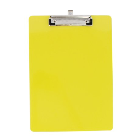 Office School Plastic A4 Paper File Note Writing Holder Clamp Clip Board Yellow - Clap Boards