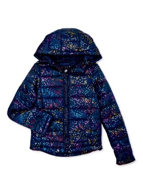 Climate Concepts Girls Metallic Dot Hooded Puffer Jacket, Sizes 4-16