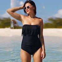b4e916a5b31cb Product Image Women's Sexy Strapless Tassel Swimsuit Monokini One Piece  Retro Swimwear Beachwear Plus Size XL-4XL