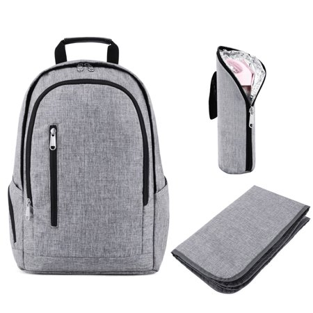 Backpack Insulated Bag - Kattee Diaper Backpack Multipocket Nappy Bag with Changing Pad & Insulated Bottle Holder